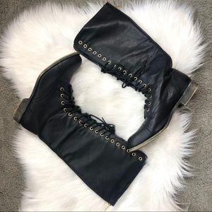 Madden Girl Gatlin Knee High Black Combat Boots